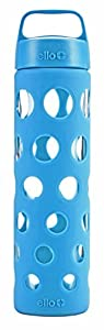 Ello Pure 20-oz Glass Water Bottle with Silicone Sleeve (Cobalt Fizz)
