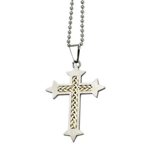Men's Stainless Steel and Silver Inlay Cross Pendant