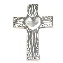 Hand Made Pewter Talavera Cross Mexico 5\