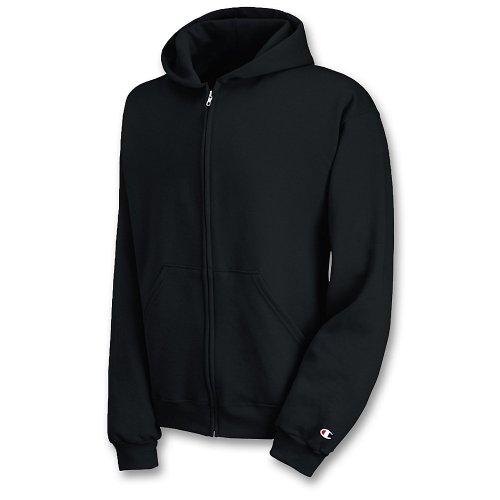 Champion Youth Double Dry Action Fleece Full Zip Hood, Black, S