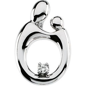 Genuine IceCarats Designer Jewelry Gift 14K White Gold Mother And Child Sm. Diamond Pendant 14.75X10.00 Mm