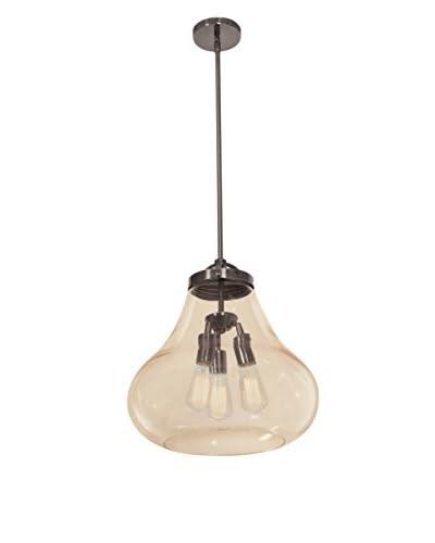 Access Lighting Flux 3-Light 15 Pendant, Dark Bronze/Amber