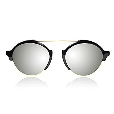 Illesteva Milan III Black with Silver Mirrored Lenses