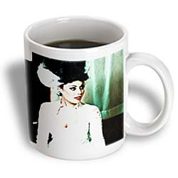 3dRose The Bride of Frankenstein in Cool Tones with a Scar on Her Neck Ceramic Mug, 11-Ounce