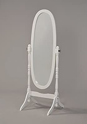Wooden Cheval Floor Mirror, White Finish by eHomeProducts