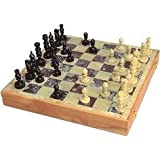 """Vintage Complete Chess Set Hand Carved Stone Pieces 14""""inch"""