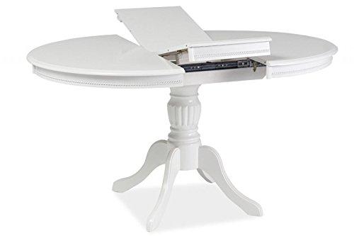 Holztisch esszimmertisch oval rund 106 106 141cm wei for Esszimmertisch oval