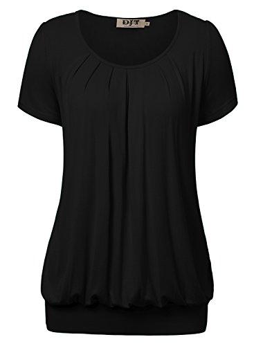 djt damen casual falten kurzarm t shirt mit stretch. Black Bedroom Furniture Sets. Home Design Ideas