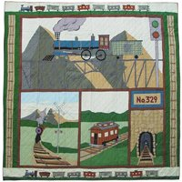 "Train Quilt Queen/Full 85""x 95"" QQTRAN by Patch Magic"
