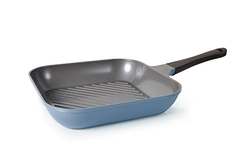Neoflam 11-Inch Eela Grill Pan with Bakelite Handle and Ecolon Non-Stick Coating,  Deep Blue
