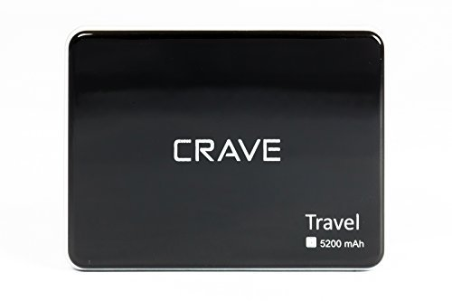 Portable Charger - Crave Travel 5200mah Ultra-compact Ultra-High Density, External Batter Charger Power Bank for Apple iPod, iPhone 4, 4s iPhone 5, 5S, iPhone 6, 6Plus, iPad Air, iPad Air2, iPad Mini, iPad Mini 2, iPad Mini 3, Samsung Galaxy S, SII, S...