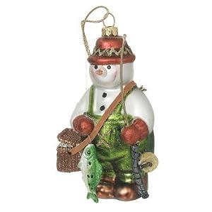 Glass Fishing Snowman Christmas Ornament