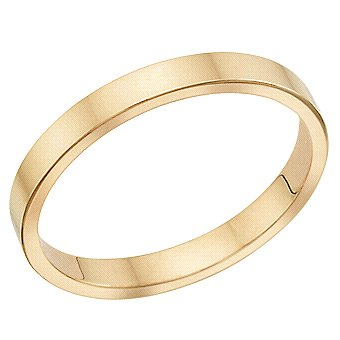 3.0 Millimeters Flat Yellow Gold Heavy Wedding Band Ring on Sale 10Kt Gold, Style FSTF03YK, Finger Size 14.5