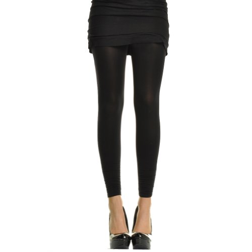 Opaque Footless Tights/Leggings with Ruched Bottom (One Size/Black)