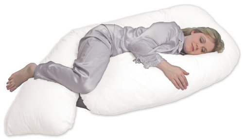 Leachco All Nighter Chic - Total Body Pregnancy Pillow with Easy On - Off Zippered Cover White