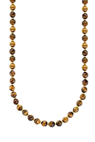 10-10.5mm Faceted Tiger Eye Necklace with Gold Plated Silver Rondels and Clasp, 18
