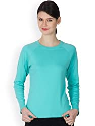 Hypernation Turquoise Color Long Sleeves Casual T-Shirts For Women