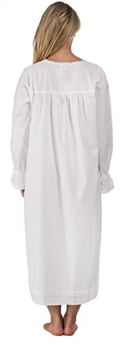 The 1 for U 100% Cotton Long Sleeve Vintage Design Nightgown - Bettie - White 2