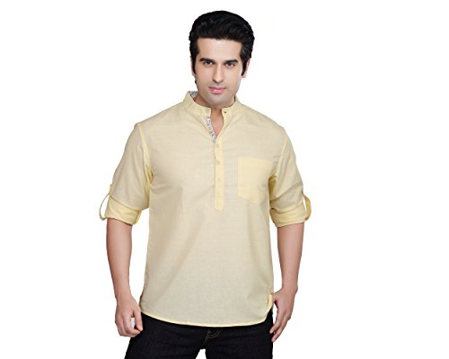 Indian Clothing Men's Kurta Tunic Banded Collar Solid Color Shirt