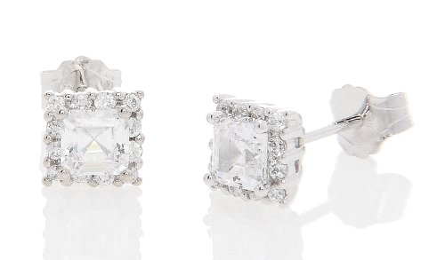 Silver Halo Style Asscher Cut with Round Side Cubic Zirconia Earrings (4 Millimeters)