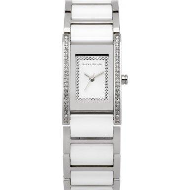 Karen Millen K121 Ladies Silver White Stones Watch