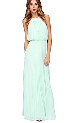 Zonars Women's Halter Pleated Long Dress Small, Green