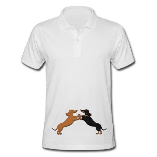Spreadshirt, dog dancing pixel Dackel, Men's Polo Shirt, white, M