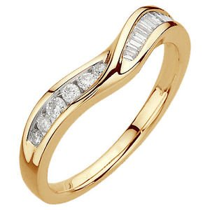 finediamondsrus Round & Baguette Cut Diamond Half Eternity Ring,18K Yellow Gold,Ring Size I,Width 2.65Mm
