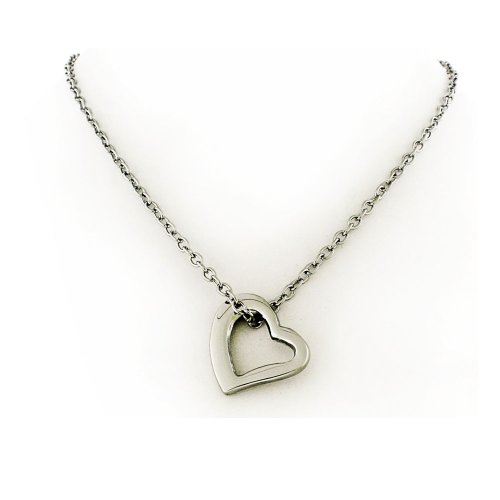 Open Heart Stainless Steel Silver Tone Charm Pendant with Chain