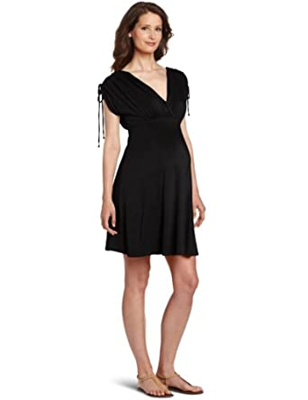 Maternal America Women's Maternity Kimono Laced Sleeve Dress, Black, X-Small