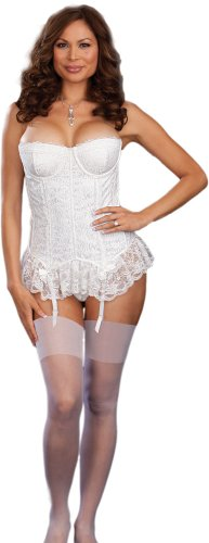 Cheap Plus Size Romantic White Bridal Lingerie - 3 Piece Set