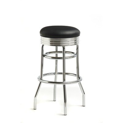 "Retro 30"" Backless Swivel Barstool in Bright Chrome Vinyl: Omni Scarlet"