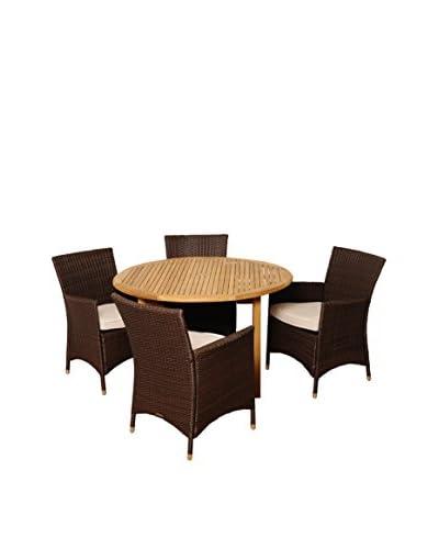 Amazonia Teak Vermont 5-Piece Wicker Round Dining Set with Grey Cushions, Brown