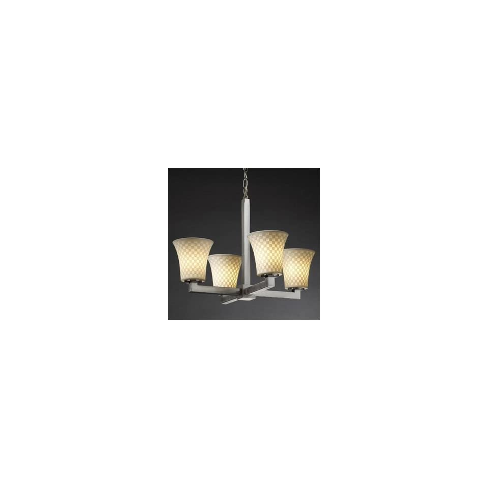 Justice Design Group POR 8820 20 CHKR MBLK HAL 4 Light Limoges