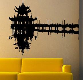 Casa decorazione arte del muro del tempio giapponese, adesivi in vinile, H = 25cm, W = 50cm