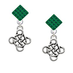 Celtic Knot Cross Green Emerald Crystal Diamond Shaped Lulu Post Earrings
