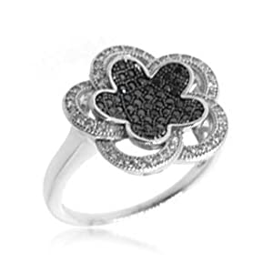 Sterling Silver Flower Ring Micro Pave Cubic Zirconia CZ Ring 0.45 ct.tw - Nickel Free Ring [Size 6]