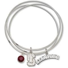 Accessorize with Red Crystal NCAA Stanford University Bangle Bracelet Set Size: 7 Sports Fashion Jewelry