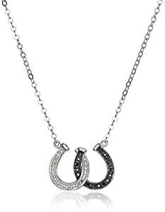 Sterling Silver Black and White Diamond Double Horseshoe Pendant Necklace (.13 cttw)
