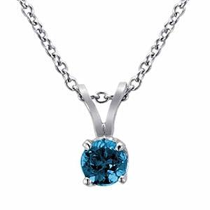 Ryan Jonathan 14K White Gold Round Blue Diamond Solitaire Pendant w/18 Inch Rope Chain (2/5 cttw)