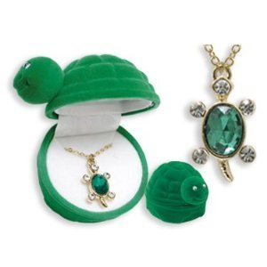 TURTLE Crystal Pendant Necklace in Turtle shaped Gift Box