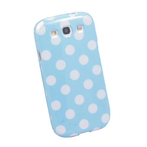 Kabb White Polka Dot Flex Gel Tpu Case Blue Cover Fit For The New Samsung Galaxy S3 I9300 + 1 Random Small Gift