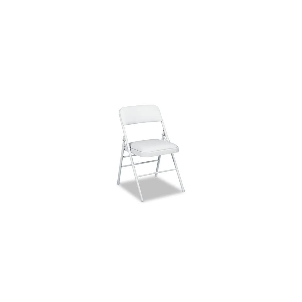 Bridgeport Deluxe Vinyl Padded Seat & Back Folding Chairs, Light Gray, 4/Carton