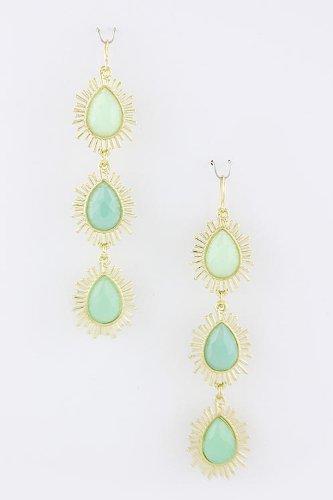 Trendy Fashion Jewelry Triple Teardrop Earrings By Fashion Destination | (Mint)