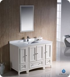 "Oxford 48"" Traditional Bathroom Vanity Set Finish: Antique White front-464716"