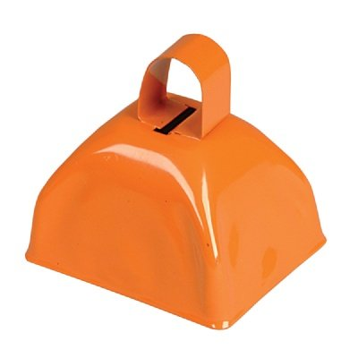 3-inch Orange Metal Cow Bell (Bulk Pack of 12 Bells)