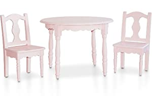 Ukid Lindsey Round Wood Table and Chair Set, Soft Pink by Ukid