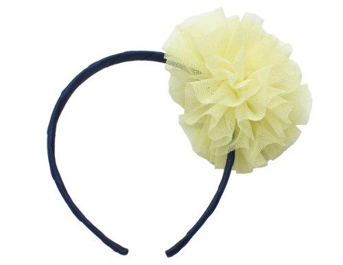Victoria Cat Girls/ Babies Wedding Dancing Mesh Ball- Flower Hair Dress Headband Accessory - Yellow& Navy Blue