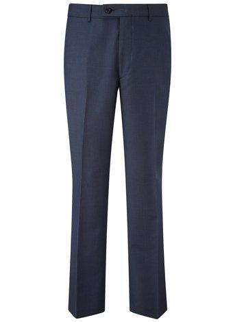 Austin Reed Regular Fit Blue Birdseye Trousers REGULAR MENS 34