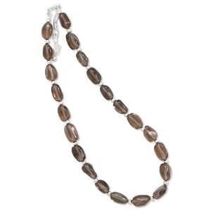 Brown Smoky Quartz and 4mm Sterling Silver Bead Necklace Adjustable Length - Made in the USA